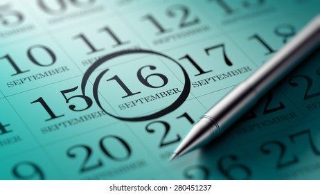 September 16 written on a calendar to remind you an important appointment.