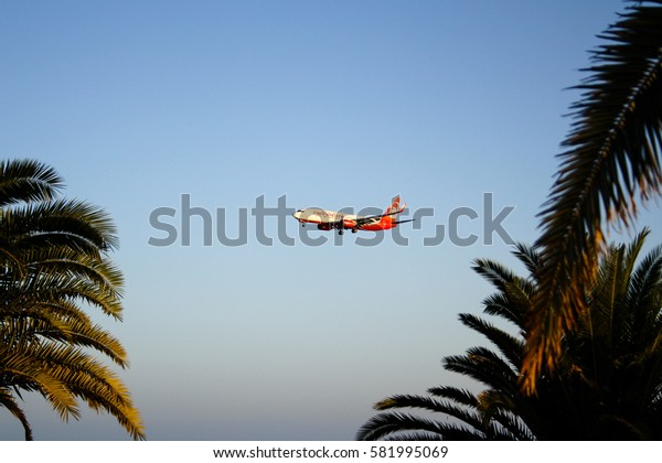 September 16th, 2012, Arrecife, Lanzarote, Spain - Air Berlin airplane aproaches for landing at the Lanzarote Airport.