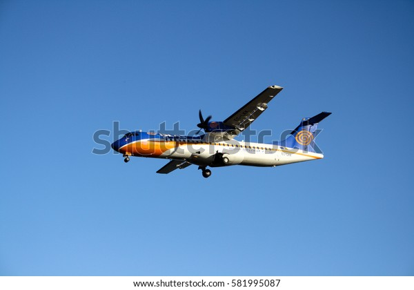 September 16th, 2012, Arrecife, Lanzarote, Spain - Islasnet airplane aproaches for landing at the Lanzarote Airport.