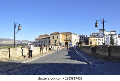 September 17, 2016- Ronda, Spain. The Puente Nuevo bridge and street scape.