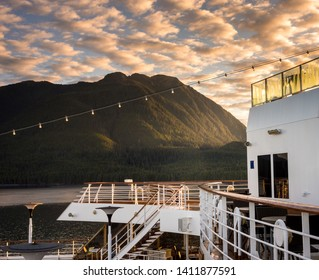 September 17, 2018 - Clarence Strait, AK: Early morniing on stern decks of cruise ship The Volendam, near Ketchikan.