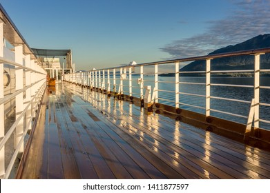 September 17, 2018 - Clarence Strait, AK: Early morning, damp top deck of The Volendam cruise ship, near Ketchikan.
