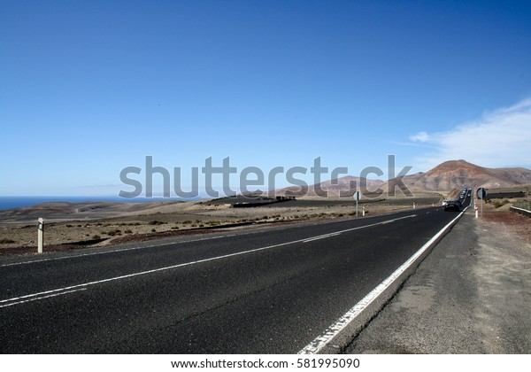 September 17th, 2012, Timanfaya National Park, Las Palmas, Lanzarote, Spain - Road on the way to the national park.
