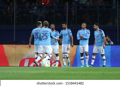 SEPTEMBER 18, 2019 - KHARKIV, UKRAINE: Manchester City players celebrate a goal scored by Ilkay Gundogan. Champions League. FC Shakhtar Donetsk-Manchester City