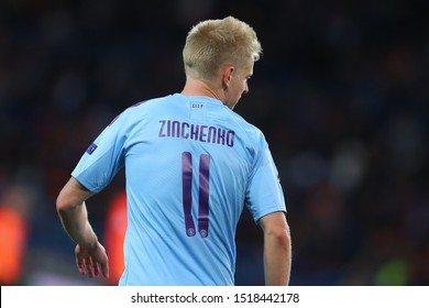 SEPTEMBER 18, 2019 - KHARKIV, UKRAINE: Oleksandr Zinchenko portrait view from the back with shirt number 11 (eleven). Champions League. FC Shakhtar Donetsk-Manchester City