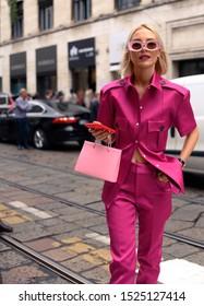 September 18, 2019: Milan, Italy - Street style outfit during Milan Fashion Week - MFWSS20
