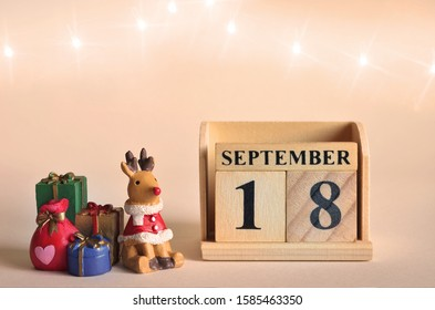 September 18, Christmas, Birthday with number cube design for background.