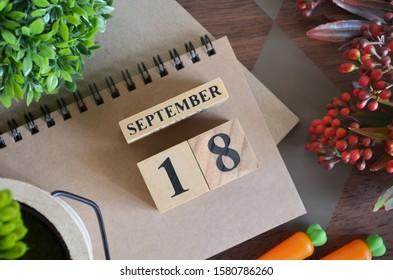 September 18, Cover natural Calendar, Appointment Date design.