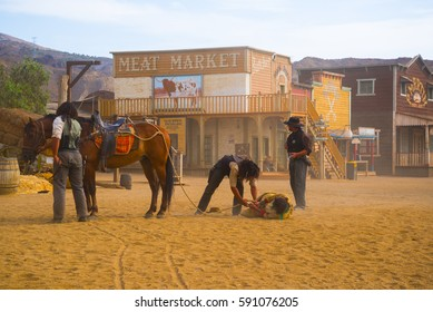 September 19, 2014 - Tabernas desert (Almeria - Spain) : Duel and gunfight recreation at the western movie set