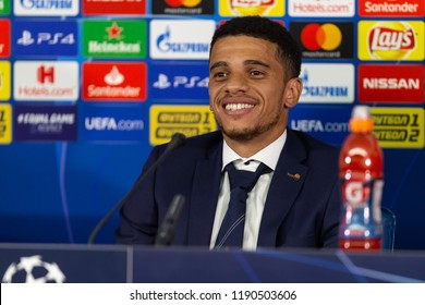 SEPTEMBER 19, 2018 - KHARKIV, UKRAINE: Captain Taison Barcellos Freda close-up portrait. Smile, good mood. Champions League Shakhtar-Hoffenheim pre-match press-conference.