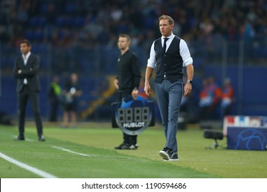 SEPTEMBER 19, 2018 - KHARKIV, UKRAINE: TSG Hoffenheim head coach Julian Nagelsmann close-up portrait. Champions League FC Shakhtar -TSG Hoffenheim.