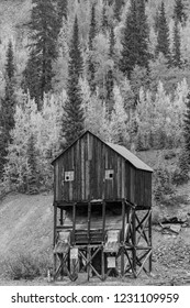 September 19, 2018. Silverton, Colorado, USA - Historic deserted mine  in black and whiite outside of Silverton Colorado off Route 550