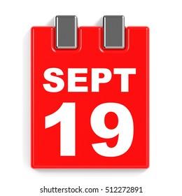 September 19. Calendar on white background. 3D illustration.