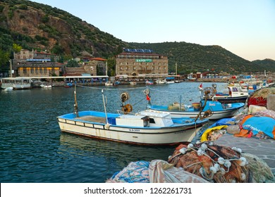 September 19,2018- Assos, Behramkale, Turkey. Fishing boats and village scape.