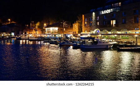 September 19,2018- Assos, Canakkale, Turkey. Night view of the town.