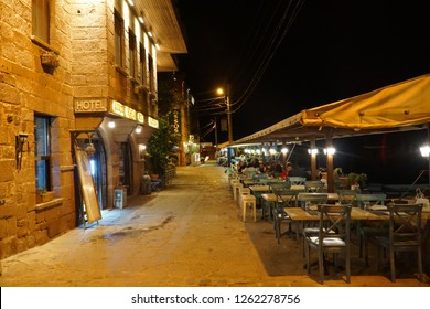 September 19,2018- Assos, Canakkale, Turkey. Old town street at night.