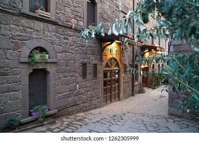 September 19,2018- Assos, Canakkale, Turkey. Back door of Kervansaray Hotel .