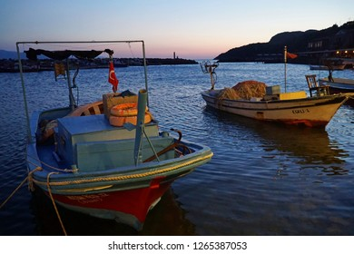September 19,2018- Assos, Canakkale, Turkey. After sunset in the old harbour.