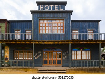 September 19th, 2014. Tabernas, Almería (Spain) : Hotel building at western town film scenery in the desert of Tabernas