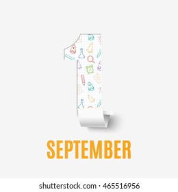 September 1st. Back To School background. Poster, greeting card or brochure.