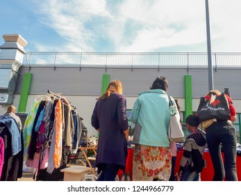 September 2, 2018 - Flohmarkt, Germany:  Atmosphere of people shopping second hand vintage furnitures, clothes and stuffs
