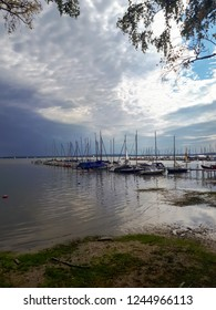 September 2, 2018 - Steinhude, Germany.Lake View. The water landscape and boats in the distance