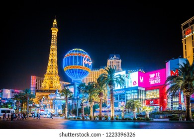 SEPTEMBER 20, 2017 - LAS VEGAS:  Classic view of colorful Downtown Las Vegas with world famous Strip and Paris Las Vegas hotel and casino complex illuminated beautifully at night, Nevada, USA