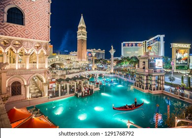 SEPTEMBER 20, 2017 - LAS VEGAS, USA:  Downtown Las Vegas with world famous Strip and The Venetian and The Mirage Resort Hotels illuminated at night, Nevada, USA