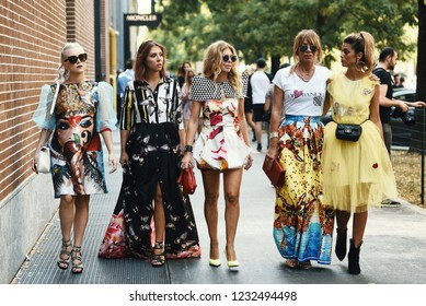 September 20, 2018: Milan, Italy -  Fashion influencers with stylish outfits - street style concept - MFWSS19