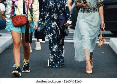 September 20, 2018: Milan, Italy - Street style outfits in detail during Milan Fashion Week  - MFWSS19