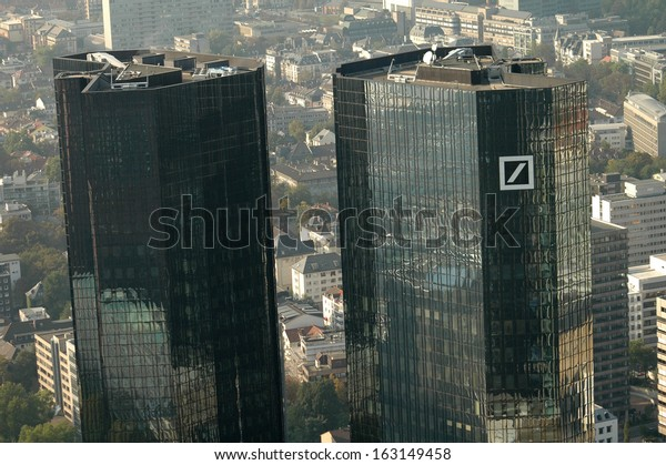 "SEPTEMBER 2007 - FRANKFURT: aerial view: the headquarters of the ""Deutsche Bank"", Frankfurt am Main, Germany."