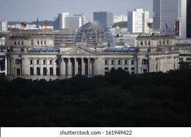 SEPTEMBER 2012 - BERLIN: aerial view of the Reichstags building in Berlin.