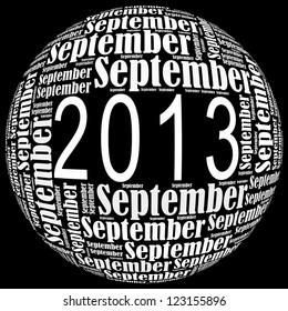 September 2013 info-text graphics arrangement on black background