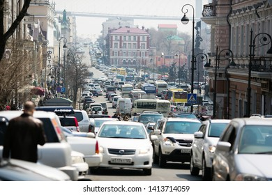 September, 2014 - Vladivostok, Primorsky Krai - Central St. Vladivostok Street - Okeansky Avenue. Traffic on the central road of Vladivostok