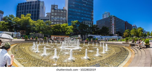 September 2016. Fountains in the Odori park in Sapporo.Japan.