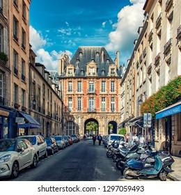 September 2016 - Paris, France - Small street near Place des Vosges square in Paris