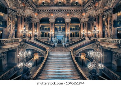 September 2016 - Paris, France -Stairway of the opera house in Paris