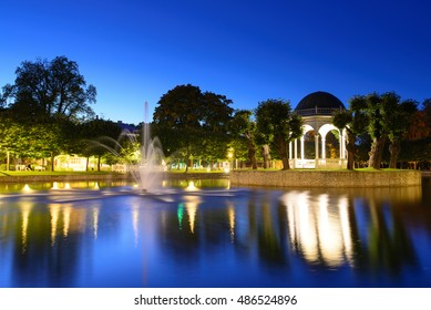 September, 2016 - Tallinn, Estonia. Kadriorg park at night in Tallinn is the Catherine's Valley commissioned by the Russian Czar Peter the Great. The park is called Japanese garden.