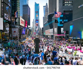 September of 2016. Times Square. New York City. Composite Image. Panorama