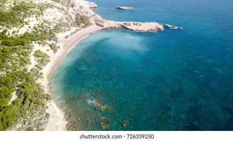 September 2017: Aerial View of Fourni Beach, Rodos island, Aegean Greece