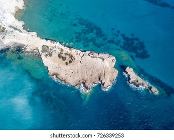September 2017: Aerial View of Fourni Beach, Rodos island, Aegean Greece