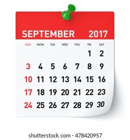 September 2017 - Calendar. Isolated on White Background. 3D Illustration
