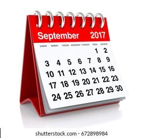 September 2017 Calendar. Isolated on White Background. 3D Illustration