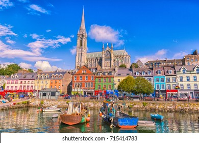 September 2017. Cork, Ireland. Fishing boats inside the port of Cobh. A city with colorful houses in Ireland.