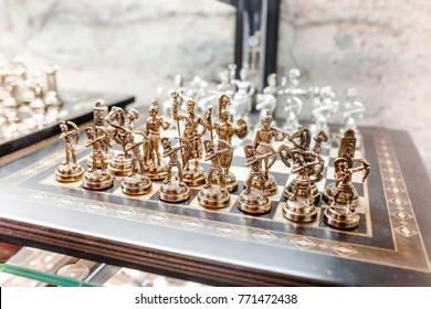 SEPTEMBER 2017, Istanbul, TURKEY: Close up of antique vintage Chess game