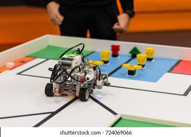September, 2017. Minsk, Belarus.  Robotics competitions in Minsk. Robot Lego Mindstorms EV3. Education of children and teenagers. STEM. E-learning.