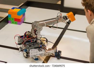 September, 2017. Minsk, Belarus.  Robotics competitions in Minsk. Robot. Robotics. Education of children and teenagers. STEM. E-learning.