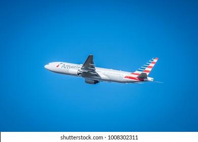 SEPTEMBER 2017: Plane taking off in El Prat Barcelona airport, Catalonia, Spain.