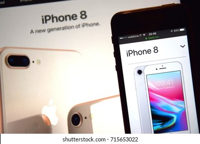"September 2017: Representation of blurry images and slogan ""a new generation of iPhone"" about new iPhone 8"