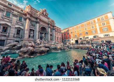 September 2017 - Rome, Italy - Crowd at the Trevi Fountain in Rome